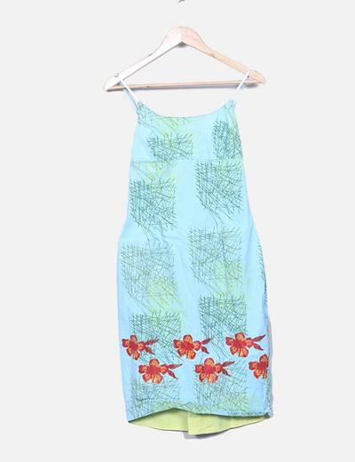 Robe bleue en tissu imprimé Desigual