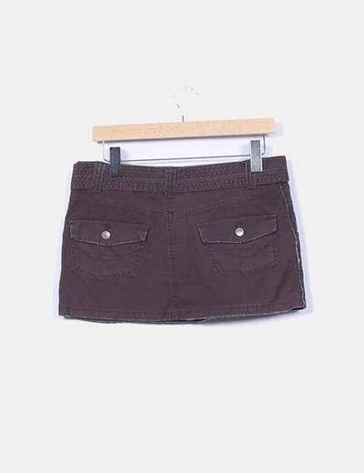 Mini falda marron