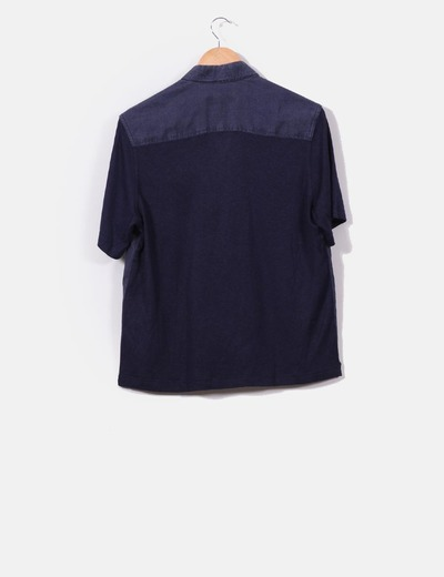 Camisa combinada azul marina