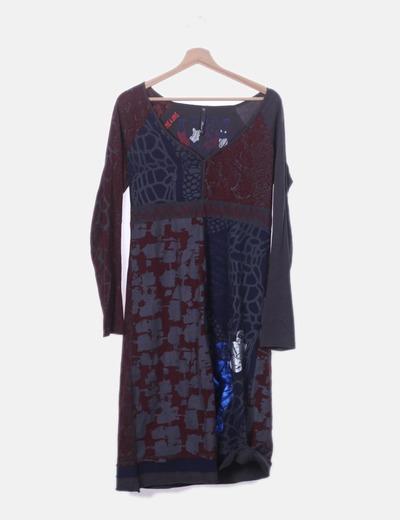 Vestido combinado gris print