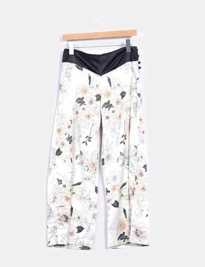 Pantalon culotte satinado print floral