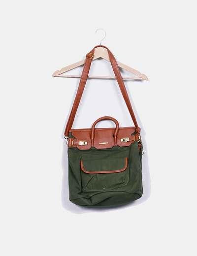 Bolso shopper verde combinado Pull&Bear
