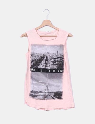 Camiseta print rosa palo