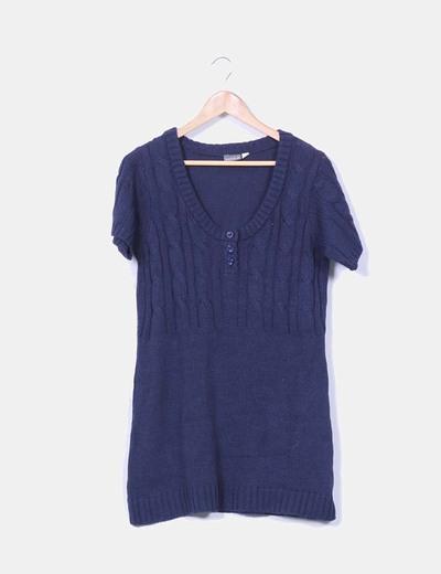 Vestido punto azul marino manga corta Venca