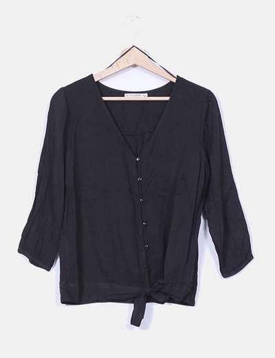 Blusa negra manga francesa con lazo Pull&Bear