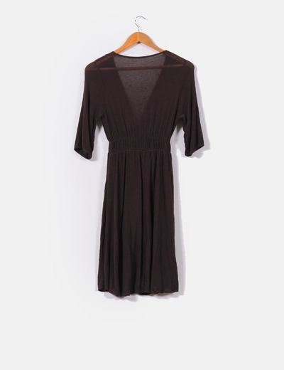 372799c8499 NoName Vestido marrón manga francesa escote en pico (descuento 63%) -  Micolet
