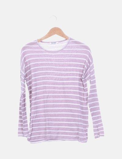 Jersey tricot rosa palo de rayas