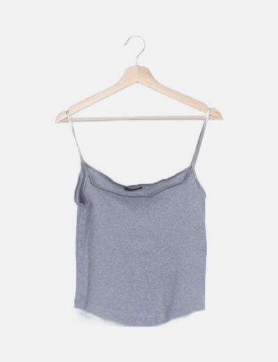 Camiseta tirantes gris canalé