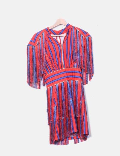 Robe deux couleurs rayée à franges NoName