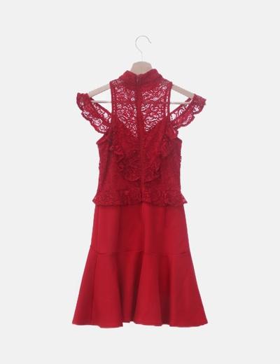 Vestido Rojo Combinado Encaje Hombro Descubierto