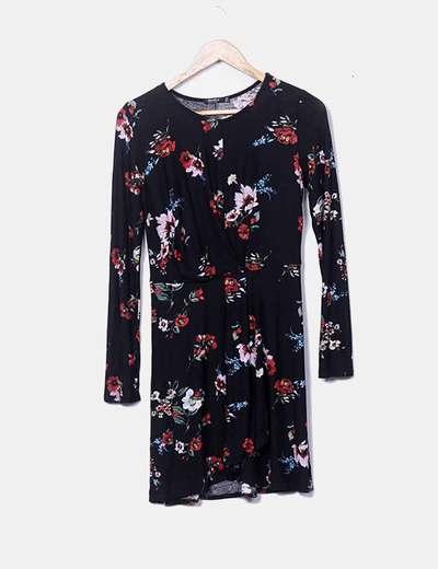 Robe noire imprimé floral Bershka