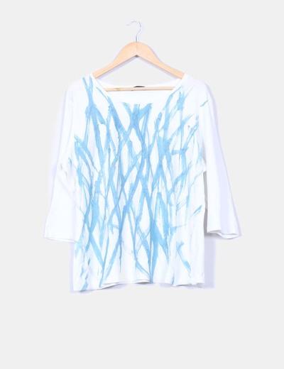 Camiseta blanca estampado turquesa glitter