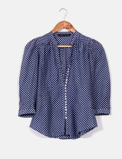 Camisa azul de topos blancos Zara