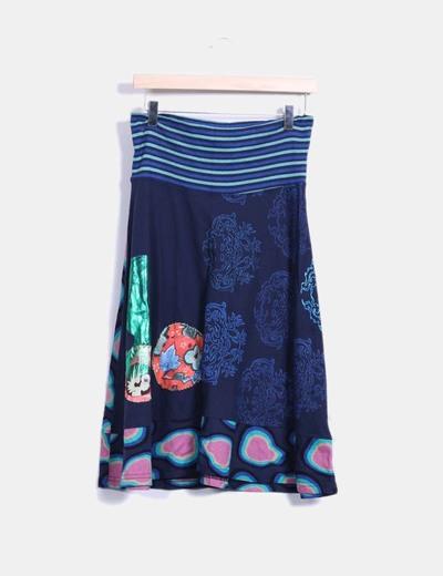 Falda estampada midi desigual Desigual
