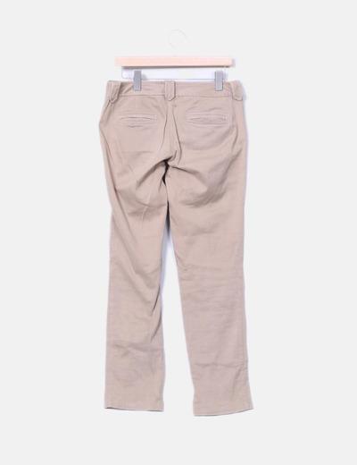 Pantalon pliegue marron recto