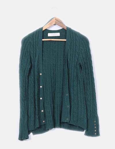 Chaqueta de punto grueso verde Zara