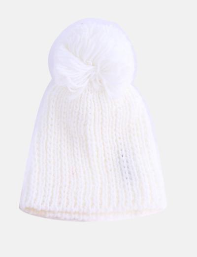 Gorro lana blanco con pompón