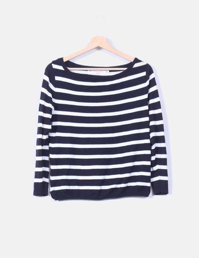 30fa623f89dd Zara Jersey negro y blanco de rayas (descuento 70 %) - Micolet