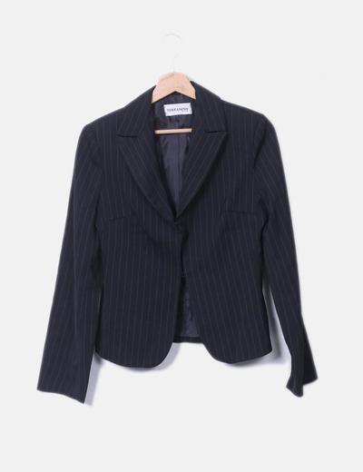 Conjunto de blazer y pantalón negro raya diplomática Terranova