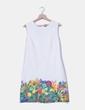 Vestido color crudo con estampado multicolor Desigual