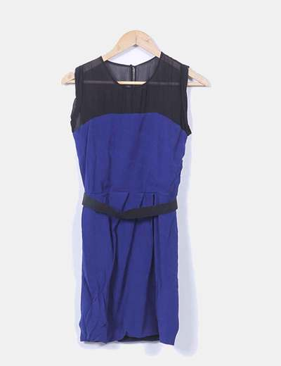 Vestido azul marino abullonado con cinturón elástico Sandro