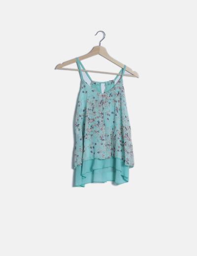 Camiseta fluida turquesa estampado floral