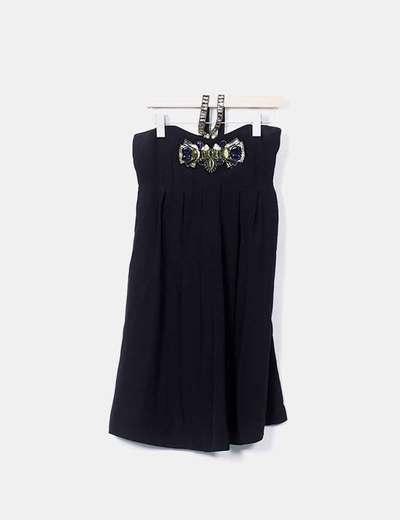 Vestido fluido negro con strass