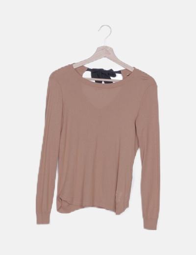 Jersey tricot marrón detalle lazo