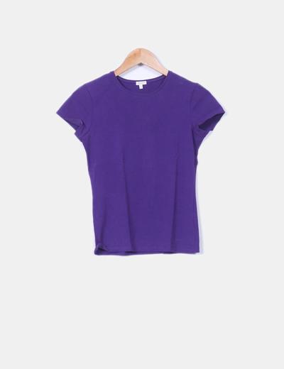 Camiseta basic morada Massimo Dutti