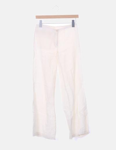 Pantalón lino blanco roto