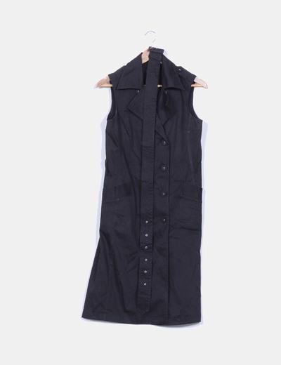 Vestido negro sin mangas doble botonadura Adolfo Dominguez