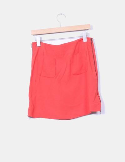 Falda mini coral detalle bolsillo