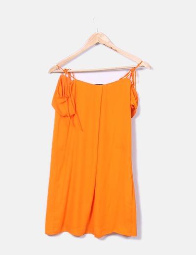 precio moderado calidad real imágenes detalladas Vestido tirantes naranja