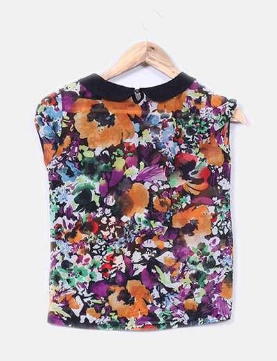 Blusa estampado multicolor solapas negro