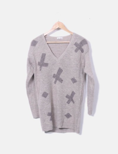 Jersey tricot beige estampado