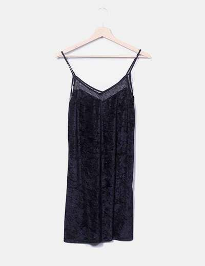 Vestido velvet negro lencero