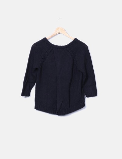 Jersey tricot negro manga francesa espalda cruzada
