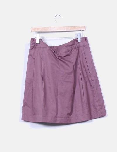 Falda midi marron
