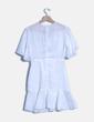 Vestido blanco drapeado con botones bohemy