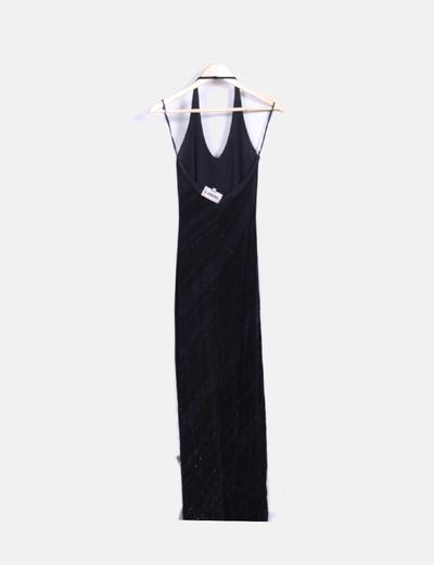 Vestido maxi negro con brillos
