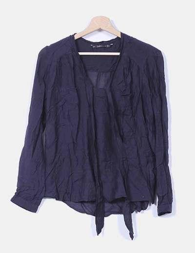 Camisa azul marina fluida Zara