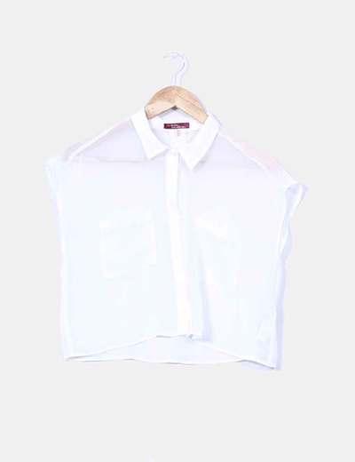 Blusa corta blanca semitransparente Bershka