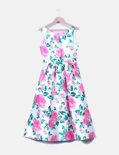 Vestido blanco midi estampado floral Chicwish