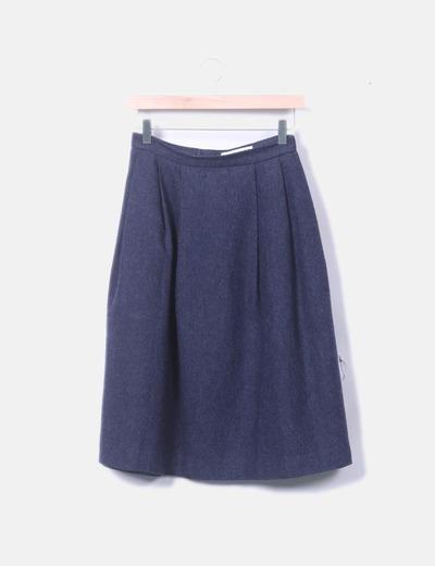 Falda tricot azul espiga