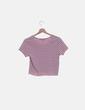 Camiseta canalé rosa con rayas Primark