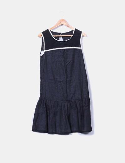 Vestido de tirantes negro puntilla blanca Malahierba