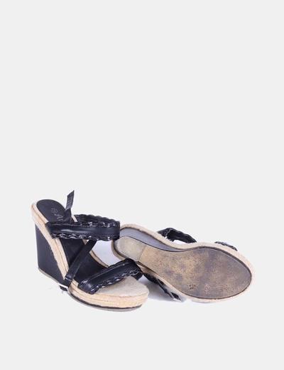 Sandalia negra de cuna combinada con esparto