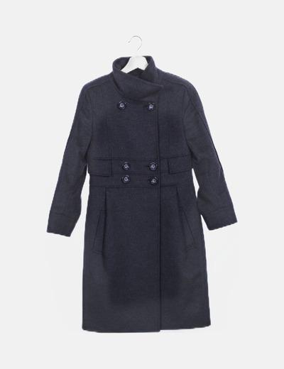 Abrigo largo gris doble botonadura