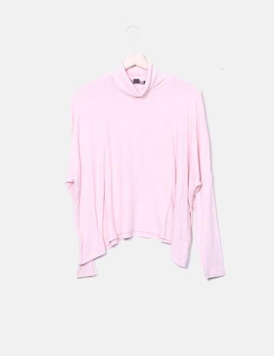 Polo rosa de canalé con cuello cisne