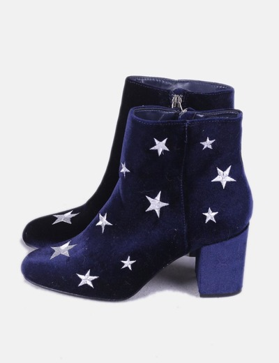 Blue velvet embroidered stars ankle boots JustFab